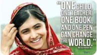"""One child, one teacher, one pen and one book can change the world""  The 15 year old Malala Yousafzai was victim of a Taliban attack in 2012. She was shot […]"